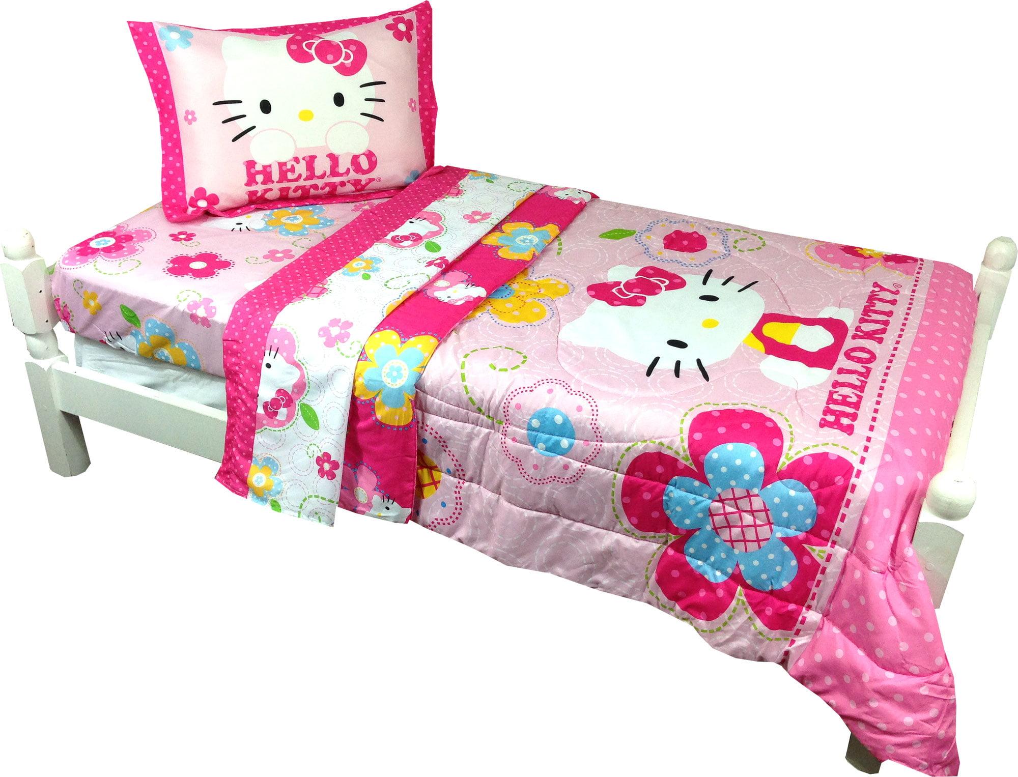 2pc Sanrio Hello Kitty Twin Bed Comforter Pillow Sham Set Fl
