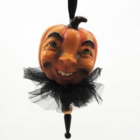 Halloween SPOOKY PUMPKIN ORNAMENT Mixed Media - Halloween Mixed Media Art
