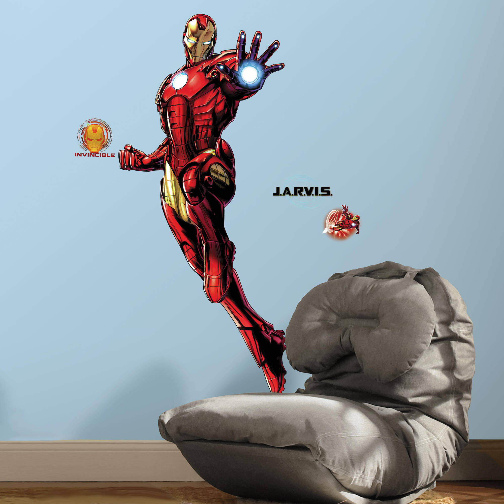 RoomMates Iron Man Peel and Stick Giant Wall Decals with Glow