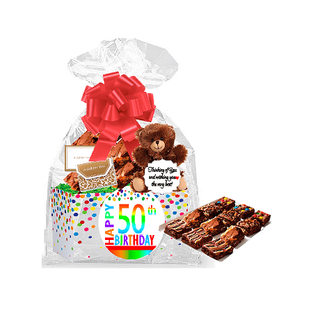 50th Birthday Anniversary Gourmet Food Gift Basket Chocolate Brownie Variety Pack Box Individually Wrapped 12pack