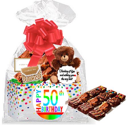 50th Birthday Anniversary Gourmet Food Gift Basket Chocolate Brownie Variety Pack Box Individually