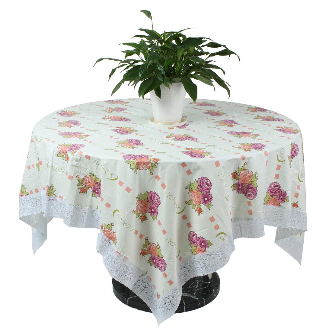 Unique Bargains Kitchen PVC Flower Pattern Rectangle Tabletop Protector  Tablecloth 13 x 13cm