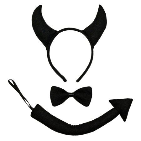 SeasonsTrading Black Devil Horns, Tail, & Bow Tie Costume Set](Little Bow Peep Costumes)