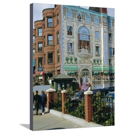 Mural of Famous Boston Characters, Newbury Street, Back Bay, Boston, Massachusetts, USA Stretched Canvas Print Wall Art By Fraser (Newbury Boston Stores)