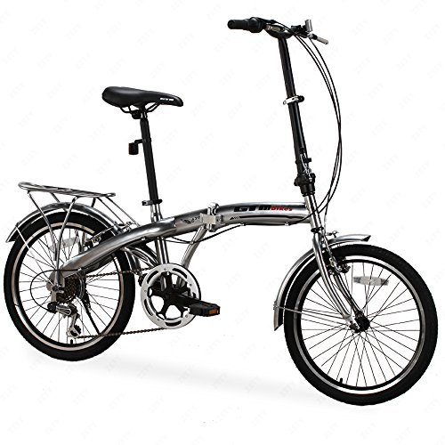 "GTM 20"" 6 Speed Foldable Bicycle Folding Bike Shimano Hybrid, Silver"