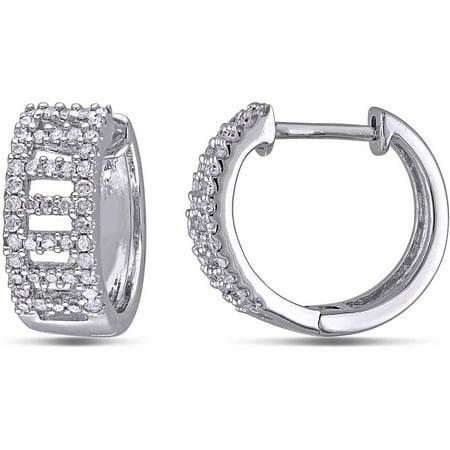 Miabella 1 3 Carat Diamond 10kt White Gold Hoop Earrings