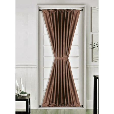 1 Pc BROWN Insulated Heavy Thick French Door Thermal Blackout Rod Pocket Curtain Panel with Tieback 55