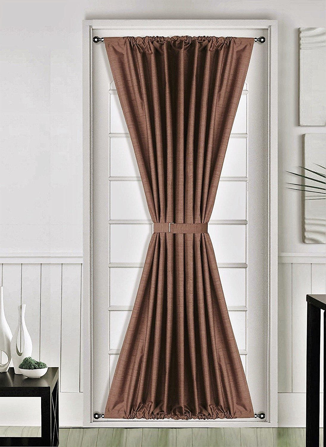 1 Pc BROWN Insulated Heavy Thick French Door Thermal Blackout Rod Pocket Curtain  Panel With Tieback