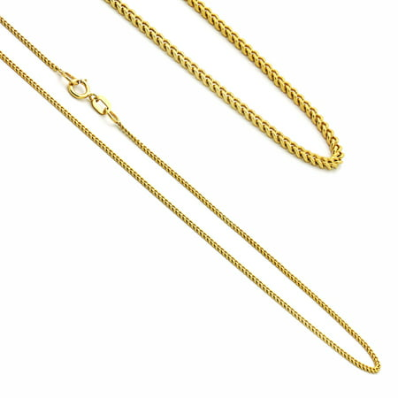 14K Yellow Gold Concaved Curb Chain Necklaces Width 1.2mm