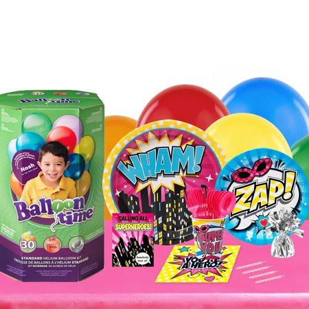 Superhero Girl 16 Guest Party Pack and Helium Kit - Helium Container