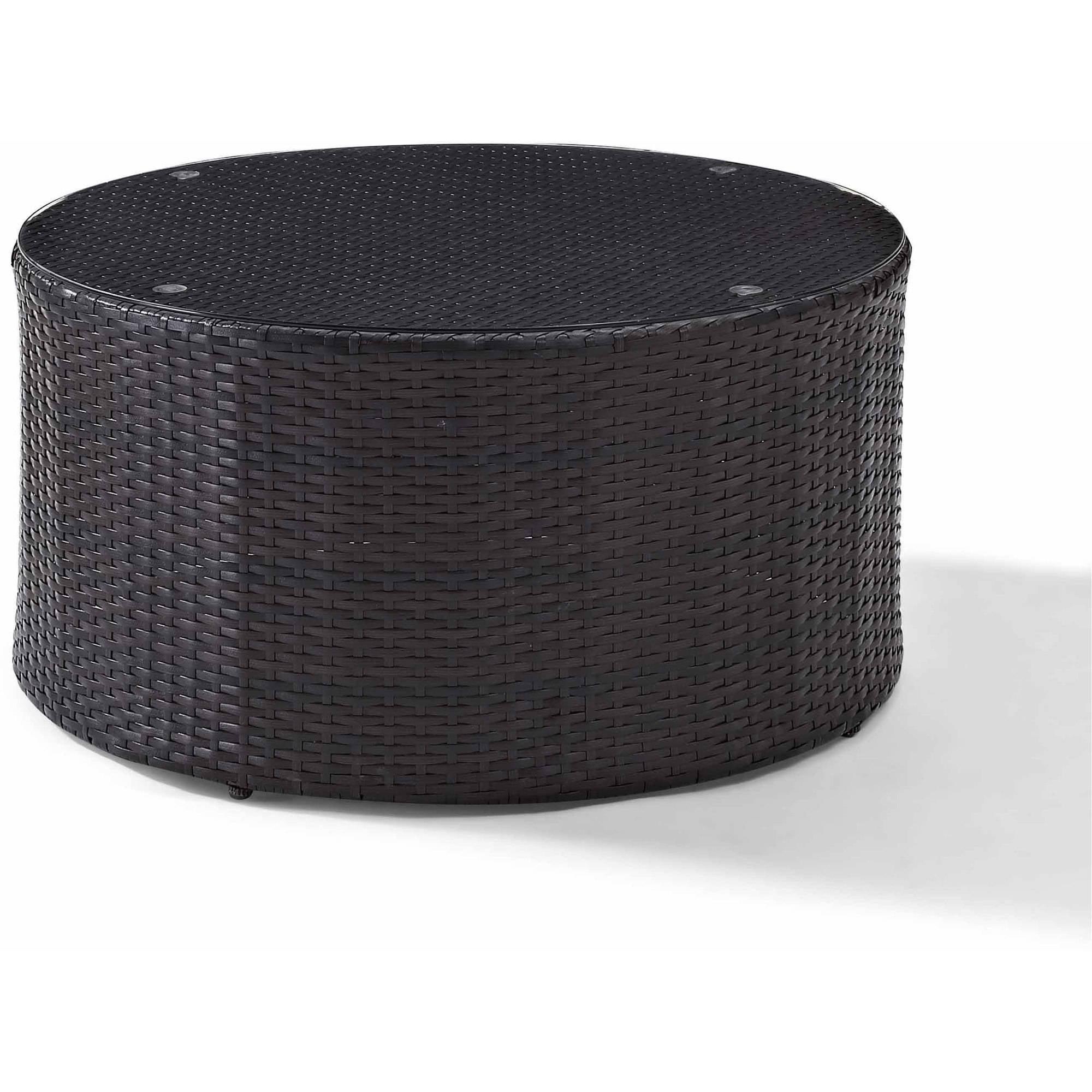 Crosley Furniture Catalina Outdoor Wicker Round GlassTop Coffee