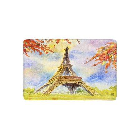 MKHERT Paris European City Landscape France Eiffel Tower and Spring Flower Doormat Rug Home Decor Floor Mat Bath Mat 23.6x15.7 inch