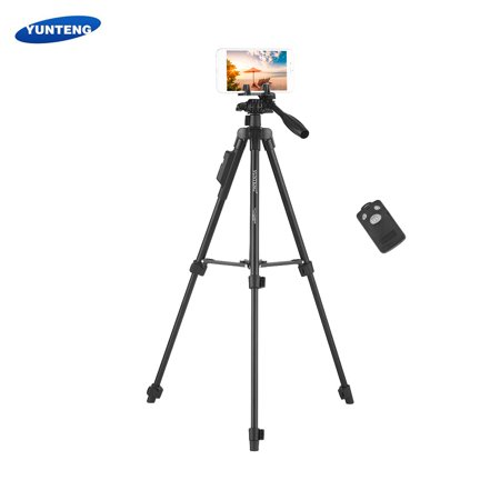Love Remote Control - YUNTENG VCT-6208 Portable 3-Section Extendable Aluminum Alloy Tripod Live Streaming Support with Detachable BT Remote Control for iPhone iPad Huawei Xiaomi Smartphone Tablet Computer Max. Load 1kg