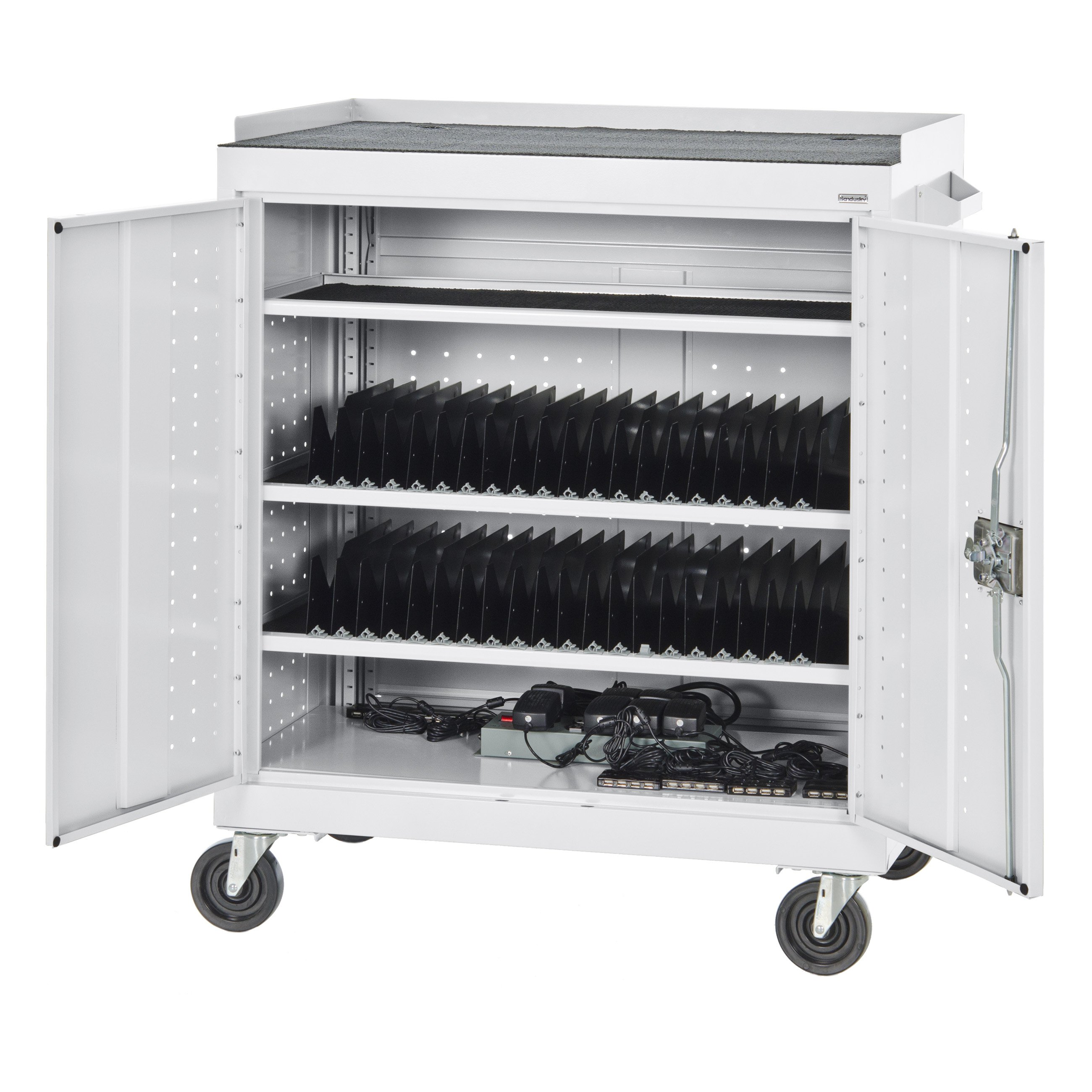 Sandusky Lee Mobile Tablet Storage Cart with Sync / Charging Hubs and Power Strip