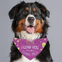 I Love You More Than Tennis Balls Personalized Dog Bandana