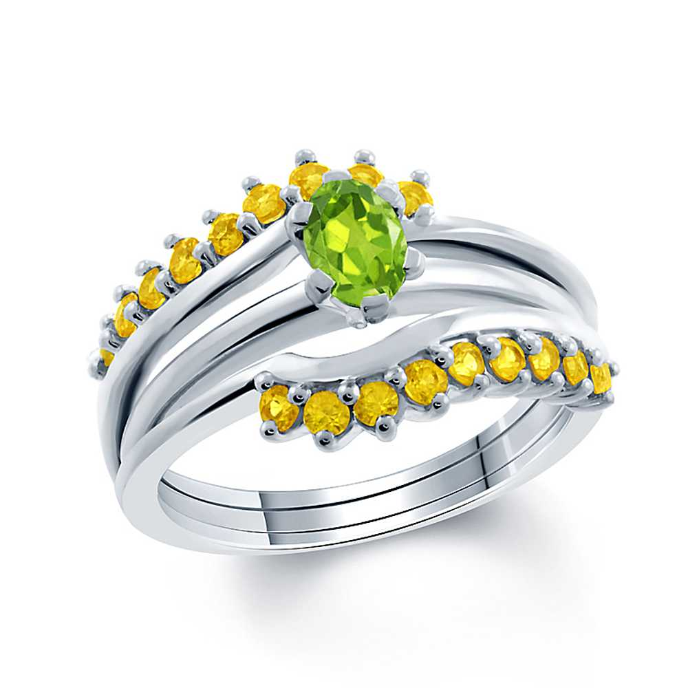 1.50 Ct Green Peridot & Yellow Sapphire 925 Sterling Silver Ring Guard Enhancer