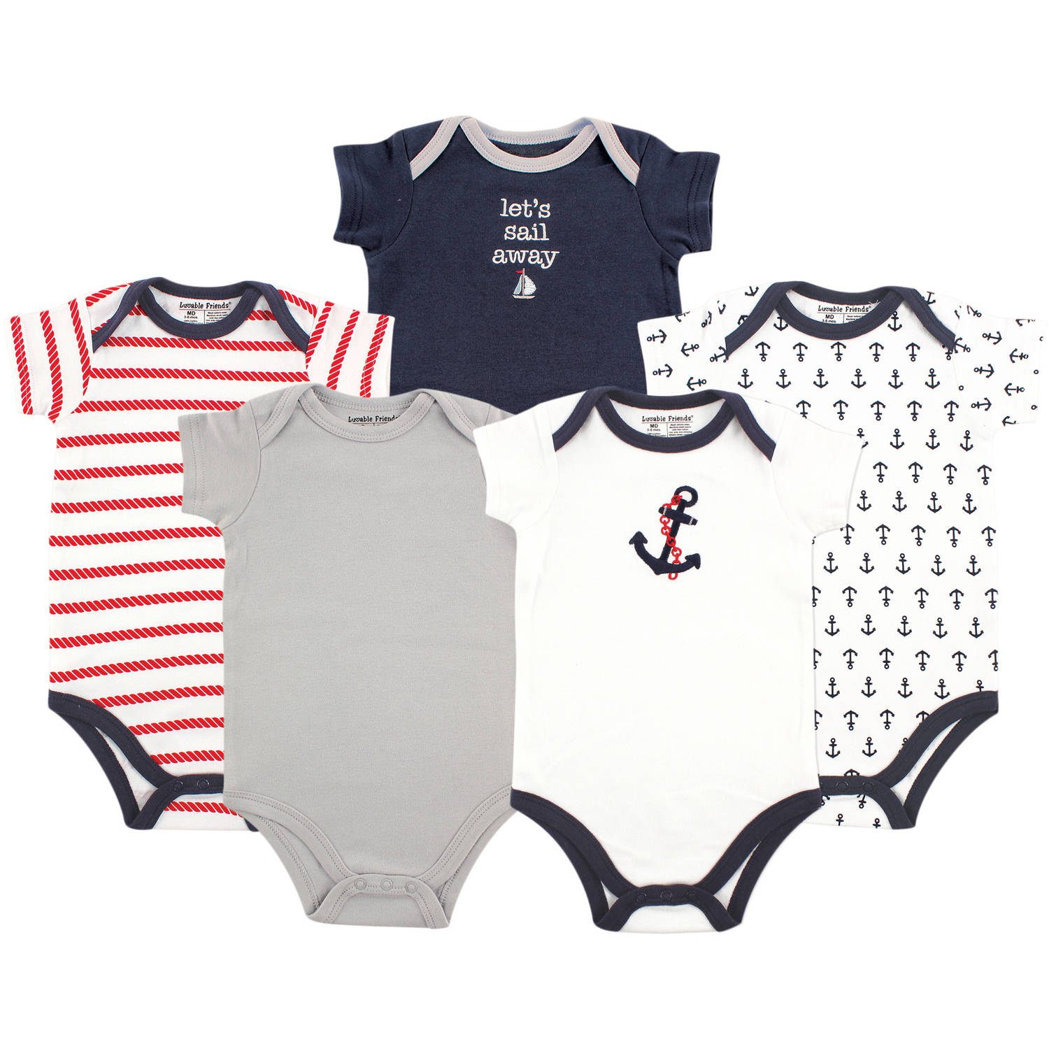 Luvable Friends Newborn Baby Boys Bodysuit 5-Pack, Nautical