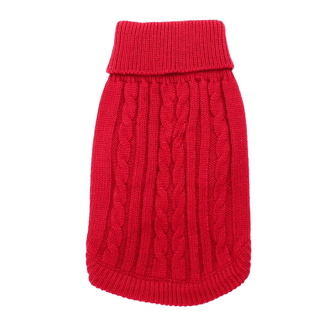 Winter Warm Red Cable Knit Turtleneck Pet Dog Puppy Clothing Sweater M