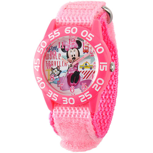 Disney Figaro and Minnie Mouse Girls' Plastic Case Watch, Pink Nylon Strap