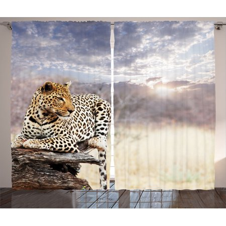Safari Decor Curtains 2 Panels Set, Leopard Setting On Tree Trunk Under Last Sunlights Of The Day Sunset Dark Cloudscape, Living Room Bedroom Accessories, Gift Ideas, By Ambesonne - Safari Ideas