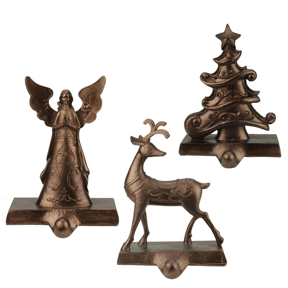 "Set of 3 Bronze Angel, Reindeer and Christmas Tree Holiday Stocking Holders 7.25"""