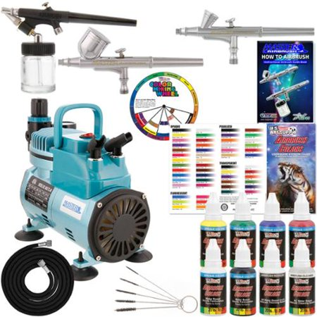 3 Airbrush Kit 6 Primary Colors Cool Runner Air Compressor Dual-Action