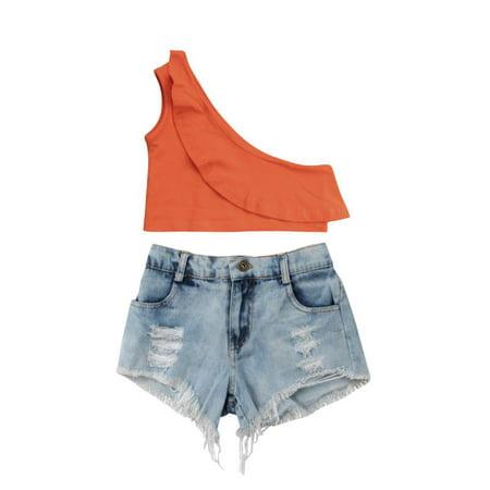 Kids Baby Girls T-shirt Tops+Denim Hot Pants 2PCS Outfits Clothing Set