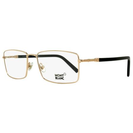 Montblanc Rectangular Eyeglasses MB583 028 Size: 56mm Rose Gold/Black - 583 Rose