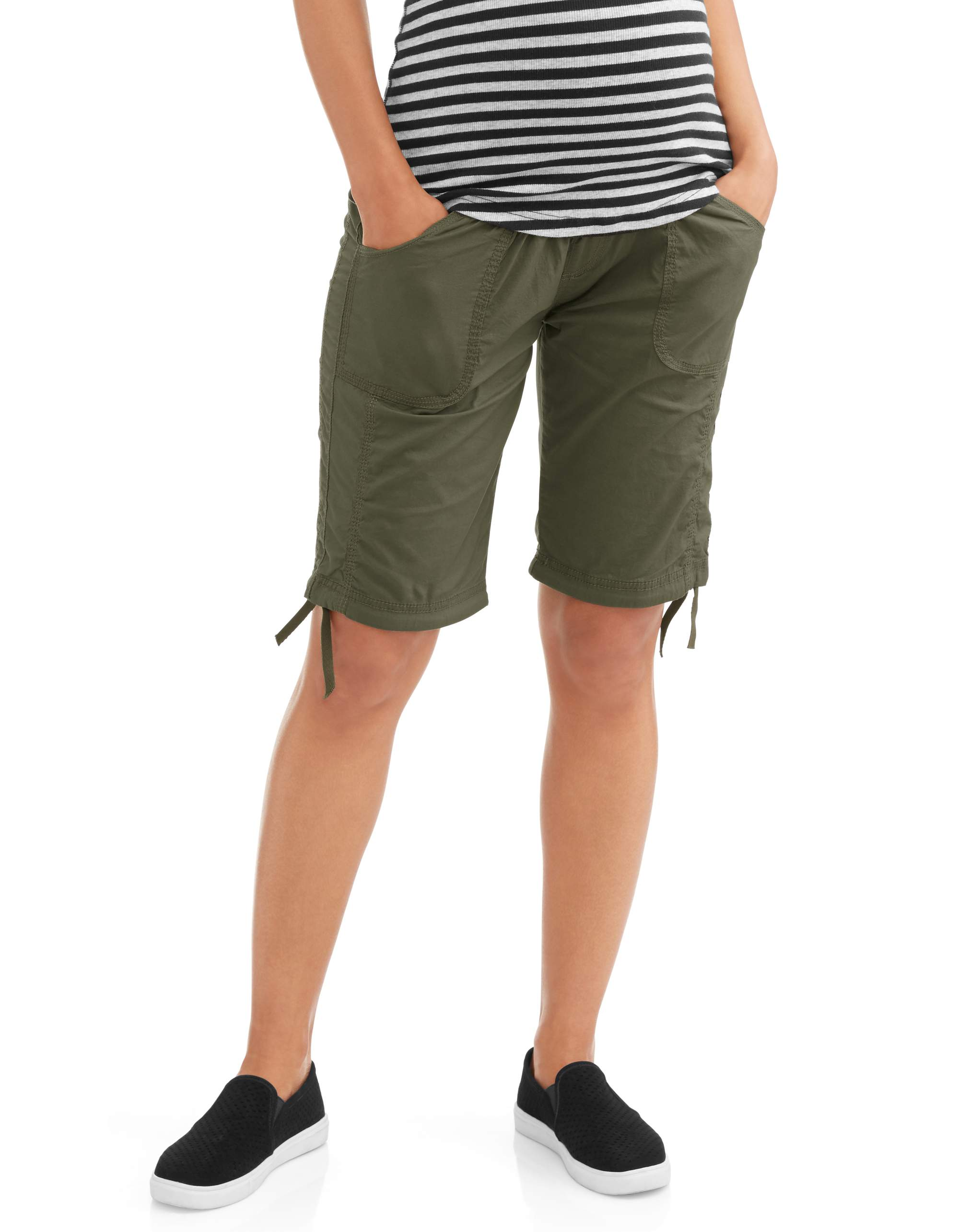 Maternity Full Panel Stretch Poplin Bermuda Shorts with Side Tie detail--Available in Plus Size by