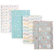 Luvable Friends Basics Baby Boy and Girl Flannel Burp Cloth, 4-Pack - Elephant