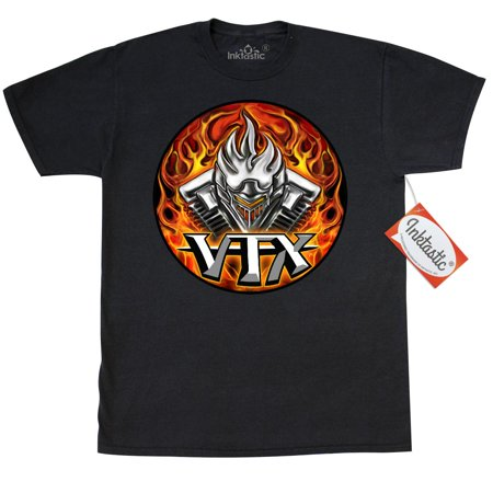 Inktastic VTX Flaming Motor T-Shirt WickedApparel By Michael Spano Honda Wickedskulls Biker Designs Motorcycle Clothes Shirts Shirt Skull Mens Adult Clothing Apparel Tees T-shirts Wicked