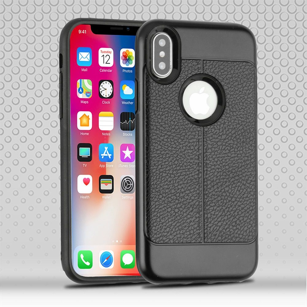 Apple iPhone X Case, by Insten Dual Layer [Shock Absorbing] Hybrid Leatherette Hard Plastic/Soft TPU Rubber Case Cover For Apple iPhone X, Black (Combo with Screen Privacy Filter) - image 3 de 3