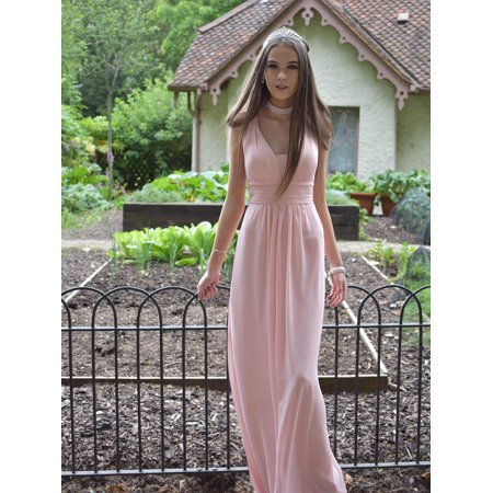(Ever-Pretty Women's Elegant Long Maxi V Neck Chiffon Evening Cocktail Prom Party Bridesmaid Wedding Guest Formal Dresses for Women 08110 (Pink 4 US))