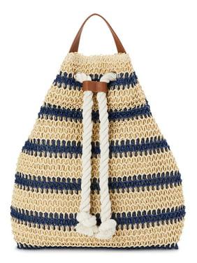 Time and Tru Straw Drawstring Handbag