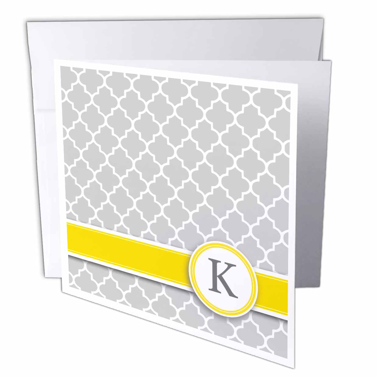 3dRose Your personal name initial letter K - monogrammed grey quatrefoil pattern - personalized yellow gray, Greeting Cards, 6 x 6 inches, set of 12
