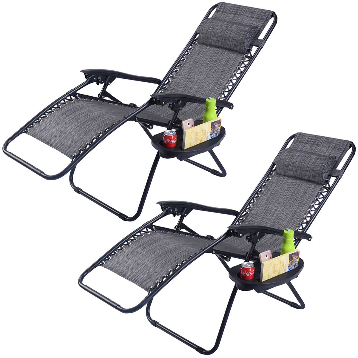 Costway 2PC Folding Zero Gravity Reclining Lounge Chairs Beach Patio W/Utility Tray