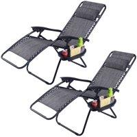 Costway 2PC Folding Zero Gravity Reclining Lounge Chairs Beach Patio W/Utility Tray