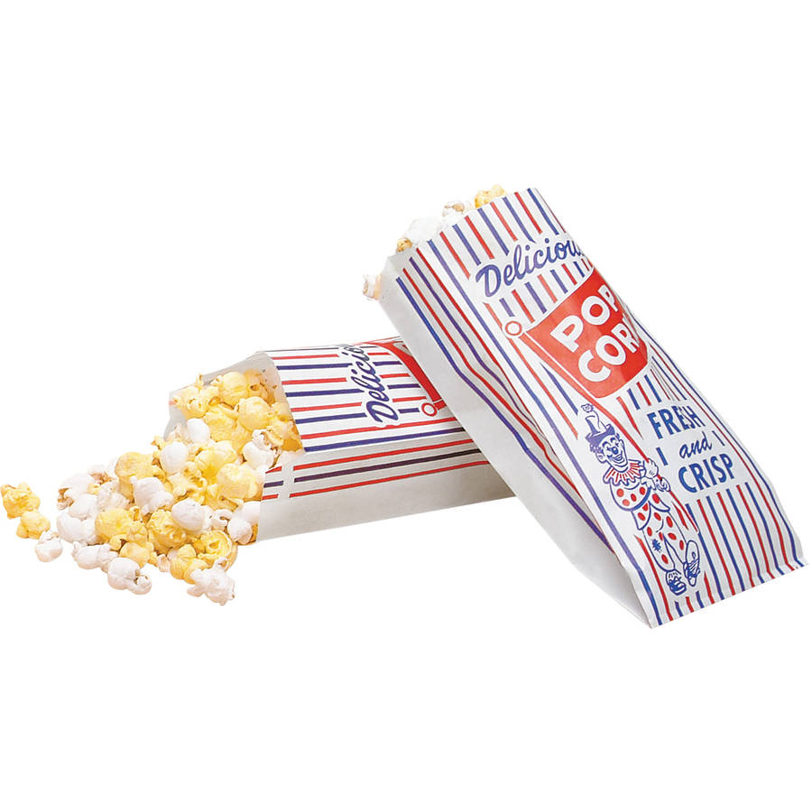 Bagcraft Pinch-Bottom Paper Popcorn Bag, 4w x 1-1/2d x 8h, Blue/Red/White, 1000/Carton - BGC300471