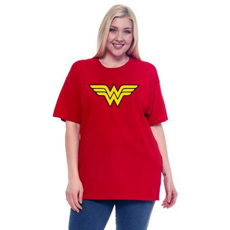 Plus Size Women's Wonder Woman Short Sleeve T-Shirt Red](Wonder Woman T Shirt Plus Size)