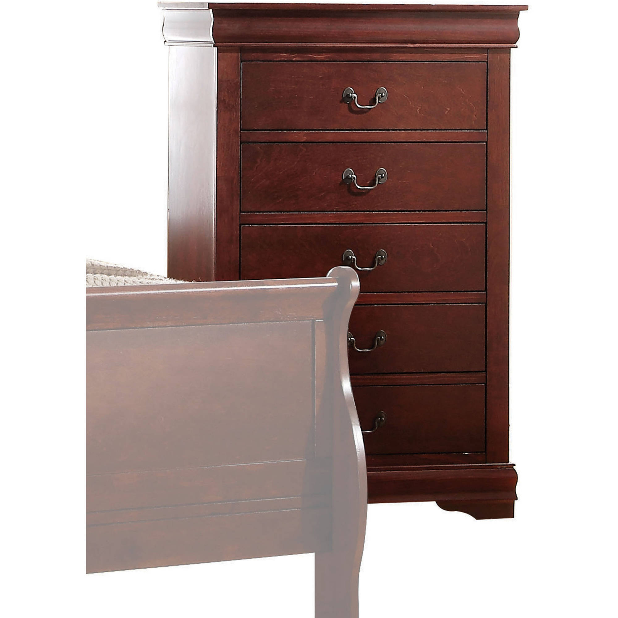 Acme Furniture Louis Philippe Cherry Chest with Five Drawers by Acme Furniture