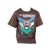Cinch Western Shirt Boys Kids S/S Tee Bronc Heather Brown MTT7670029