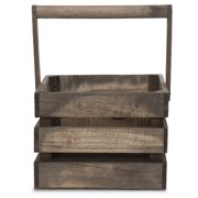 Square Wooden Crate Swing Handle Basket 9in