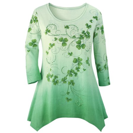 Women's Shamrock Printed Ombre Top, Sparkly Sequins & Green Background with 3/4 Sleeves and Scoop Neckline, Large, Green Multi - Shamrock Skirt