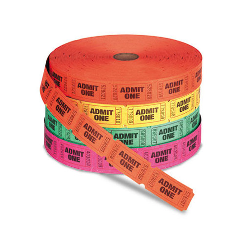 Generations Pm Company Admit One Single Ticket Roll, Numbered, Assorted Cut Out