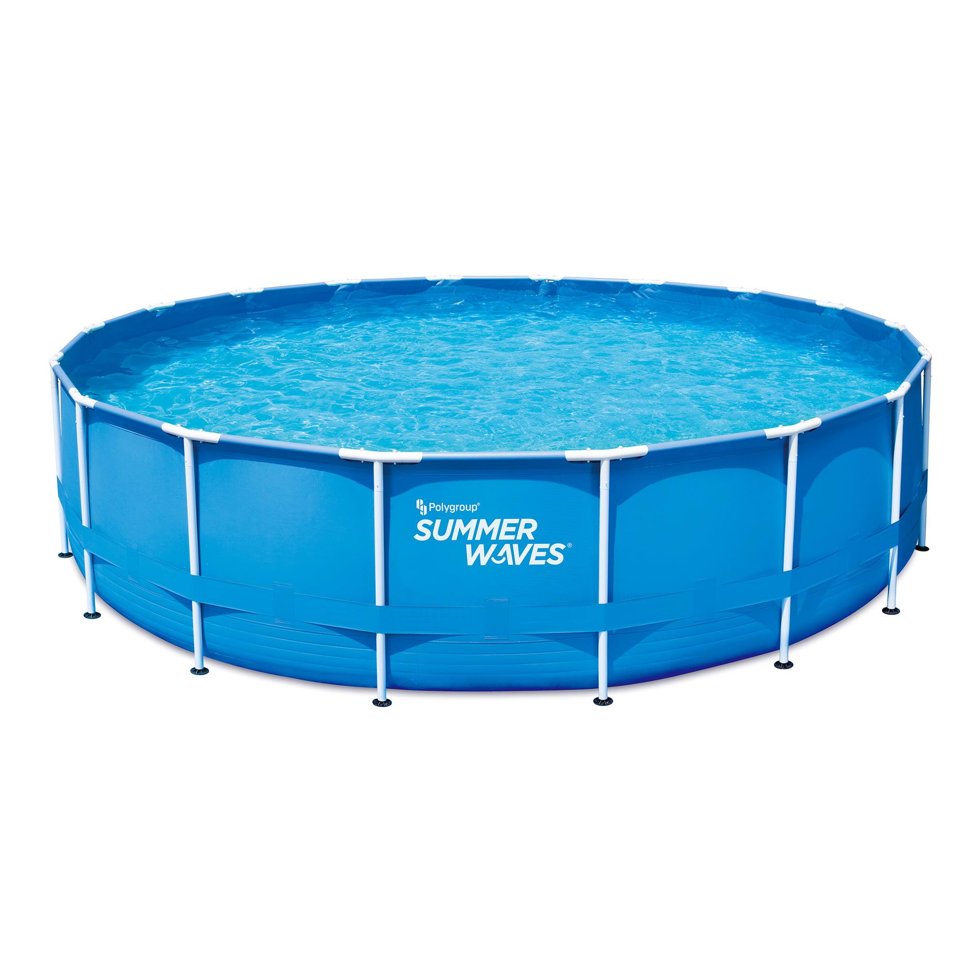 Summer Waves 18 Ft Metal Frame Above Ground Pool With 1 500 Gph Filter Pump Walmart Com Walmart Com