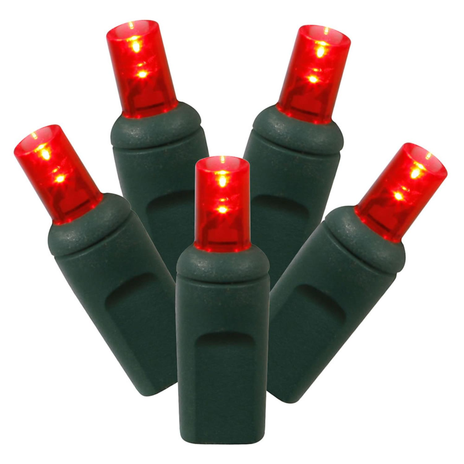 Set of 100 Red Commercial Grade LED Wide Angle Christmas Lights - Green Wire