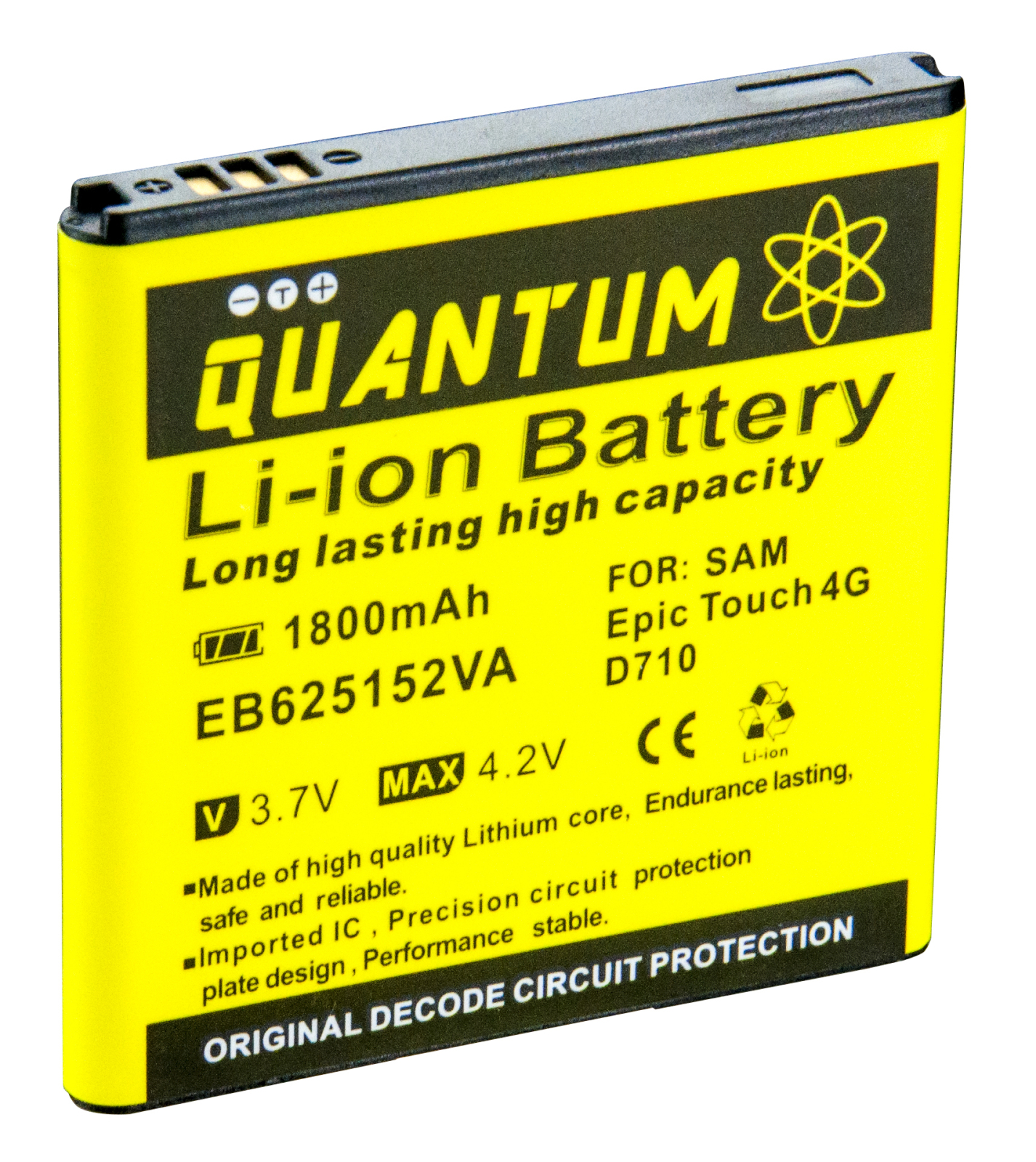 QUANTUM 1,800 mAh Battery for Galaxy S2 Epic 4G Touch SPH-D710, 12 MONTH WARRANTY