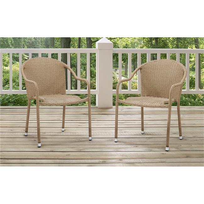 Palm Harbor Outdoor Wicker Stackable Chairs, Light Brown - Set of 2