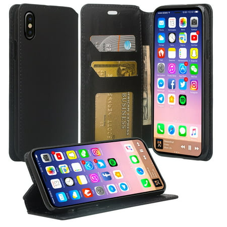 Apple iPhone Xs/X Wallet Case, Magnetic [Kickstand Feature] Pu Leather Wallet Case ID&Credit Card Slot For iPhone Xs/X - Black