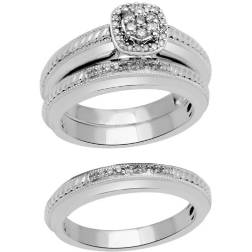 Forever Bride  Princess  Diamond & Sterling Silver Gold-Plated Wedding Trio Set